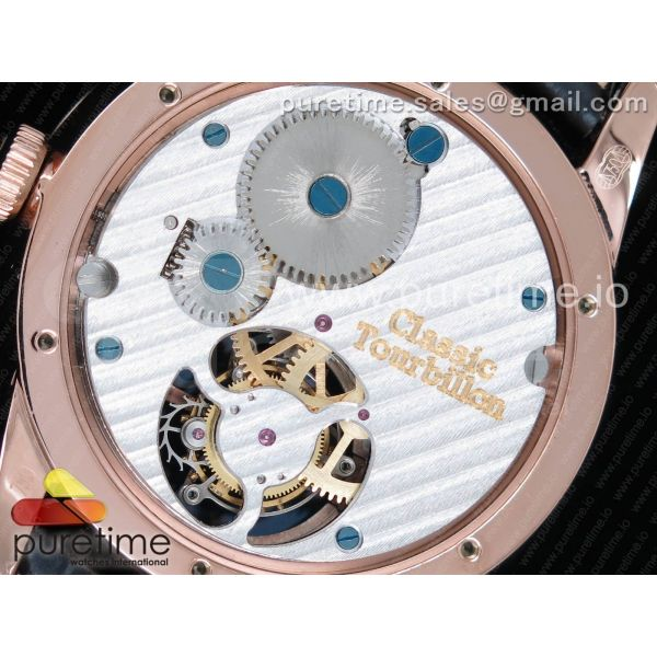 Girard-Perregaux 1966 Tourbillon RG White Dial Diamonds Bezel on Black Leather Strap