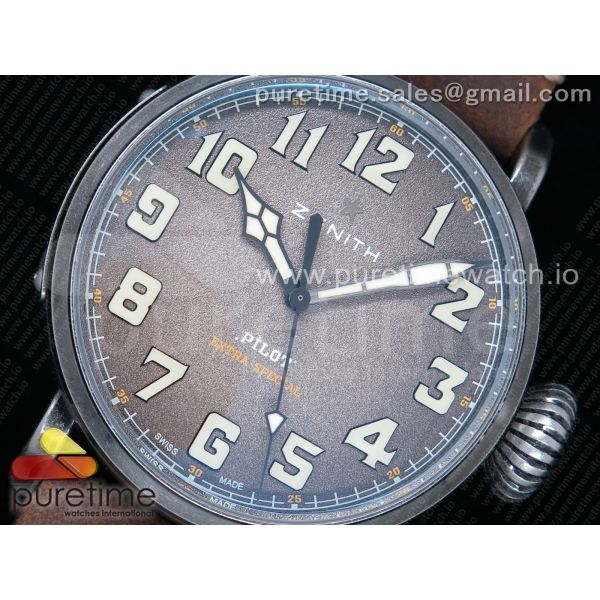 Pilot Type 20 Extra Special 45mm Aged SS Case XF 1:1 Best Edition Brown Dial on Assolumate Strap A2824