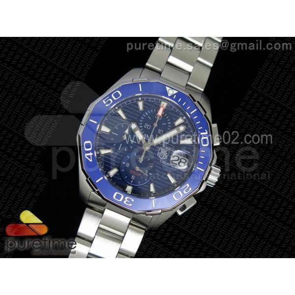 Aquaracer 300M Chronograph SS Blue Dial on SS Bracelet JAP Quartz