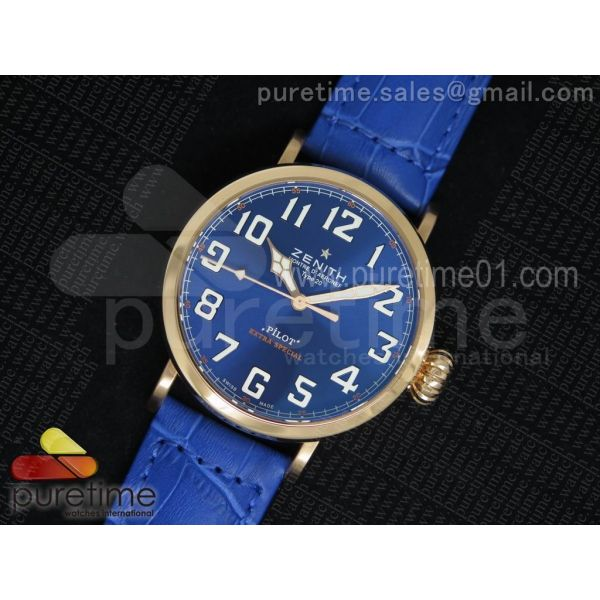 Pilot Type 20 RG Blue Dial on Blue Leather Strap A23J