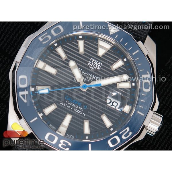 Aquaracer Calibre 5 SS 43mm V6F 1:1 Best Edition Black Dial Blue Hand on Black Nylon Strap A2824