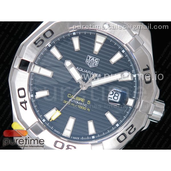 Aquaracer Calibre 5 SS 43mm OXF 1:1 Best Edition SS Bezel Black Dial on SS Bracelet SW200