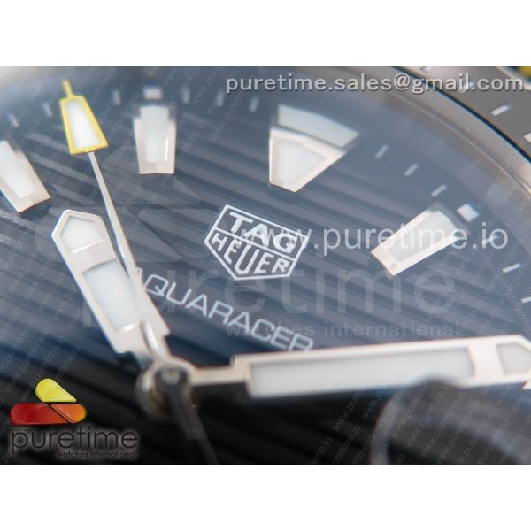 Aquaracer Calibre 5 Black SS V6F 1:1 Best Edition Textured Dial Ceramic Bezel on Nylon Strap A2824