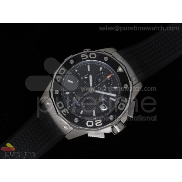 Aquaracer 500M Calibre 16 Chrono SS Black Textured Dial on Black Rubber Strap A7750